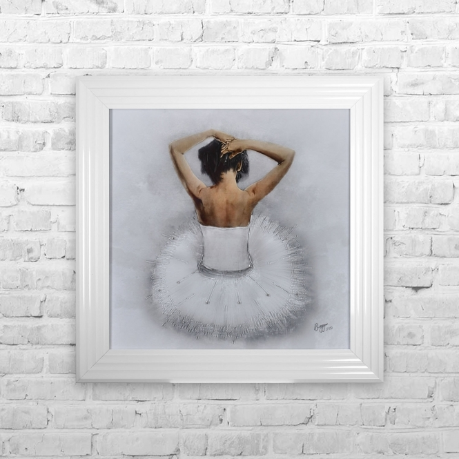 SITTING BALLERINA WHITE FRAMED ARTWORK Wall Art | 75CM X 75CM