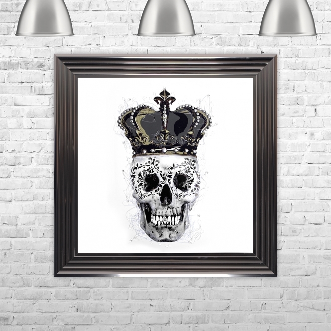 SHH Interiors SKull & Crown White Background Framed Liquid Artwork and Swarovski Crystals
