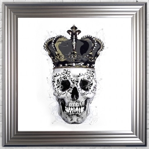 SKull & Crown White Background Framed Liquid Artwork and Swarovski Crystals Summer Sale