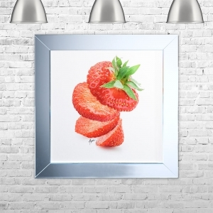 SLICED STRAWB Framed Liquid Artwork | 75 cm x 75 cm