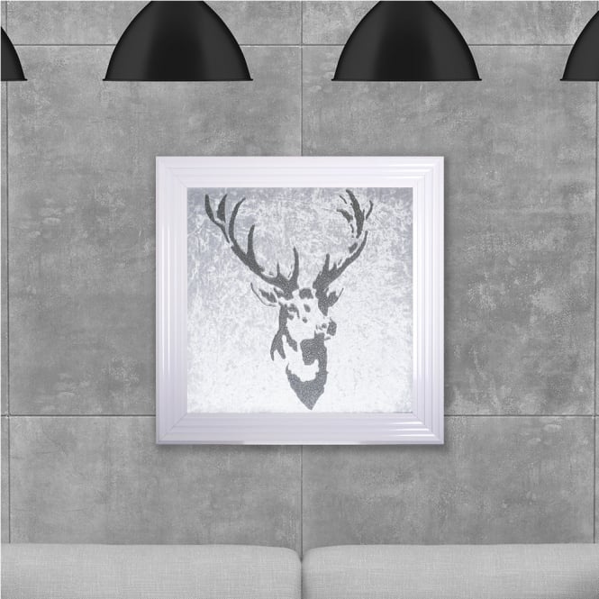 SHH Interiors Stag on Black Hand Made with Liquid Glass and Swarovski Crystals 75 x 75 cm