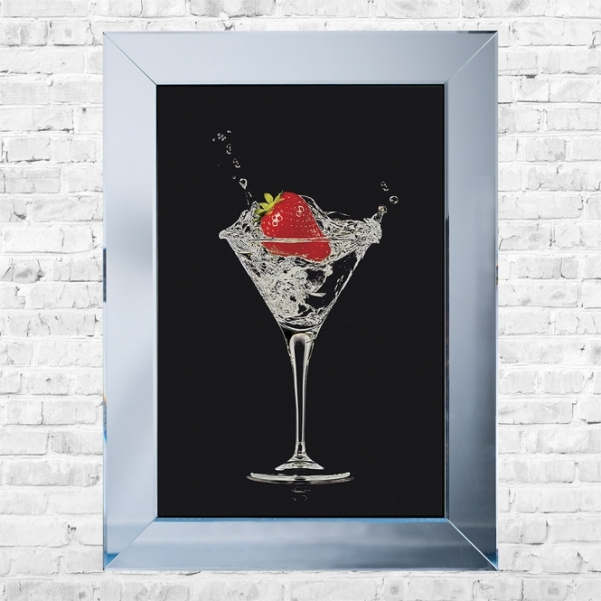 SHH Interiors Strawberry Cocktail Black Background Framed Liquid Artwork and Swarovski Crystals