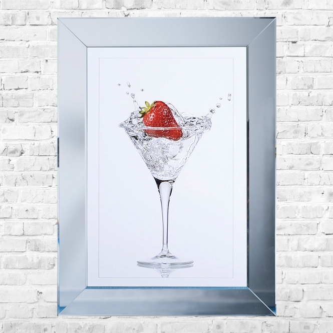 SHH Interiors Strawberry Cocktail White Background Framed Liquid Artwork and Swarovski Crystals