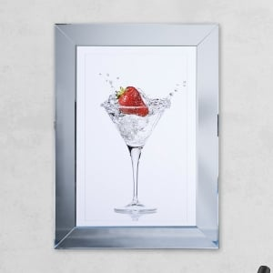 Strawberry Glass Print Mirror with Liquid Glass and Swarovski Crystals 54 x 74 cm