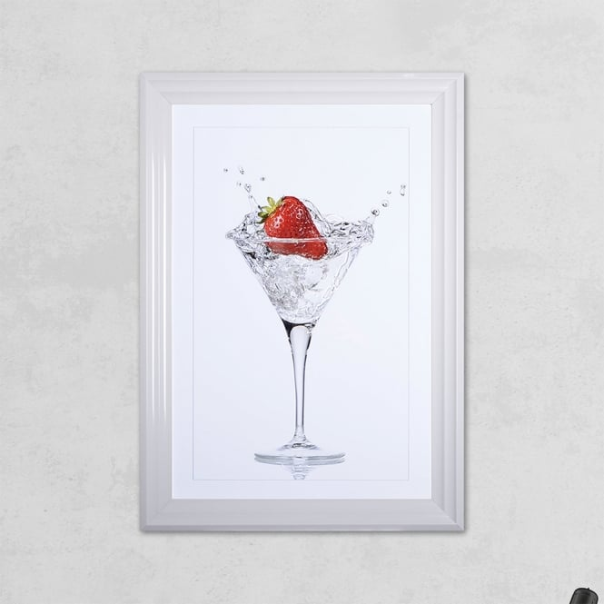 SHH Interiors Strawberry Glass Print with Liquid Glass and Swarovski Crystals 48 x 68 cm
