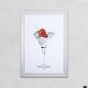 Strawberry Glass Print with Liquid Glass and Swarovski Crystals 48 x 68 cm