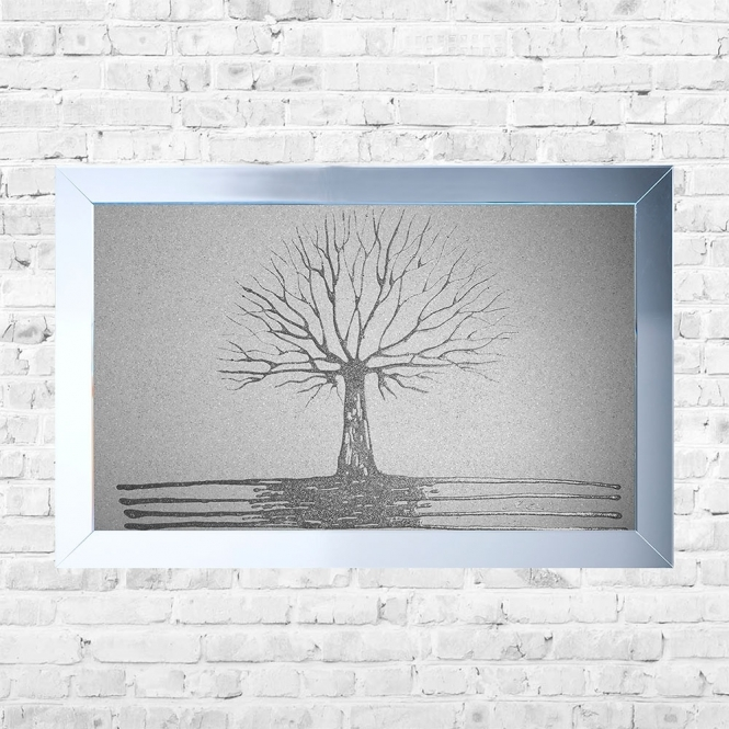 SHH Interiors Tree of Life White BackgroundFramed Liquid Artwork and Swarovski Crystals