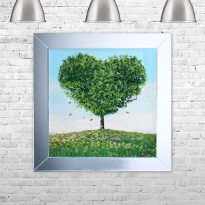 TREE OF LOVE GREEN Framed Liquid Artwork and Swarovski Crystals | 75cm x 75cm