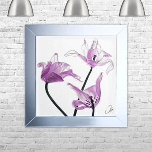 TULIP 3 Framed Liquid Artwork and Swarovski Crystals | 75cm x 75cm