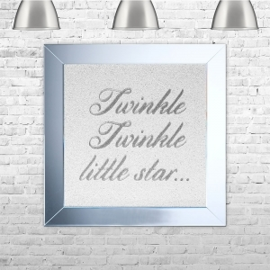 Twinkle Twinkle Little Star Silver Glitter White Glitter Background | 75cm x 75cm