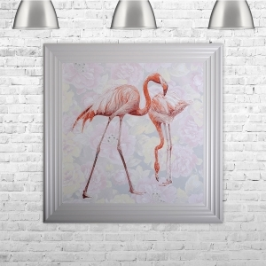 Two Flamingos with Floral Background | 75cm x 75cm