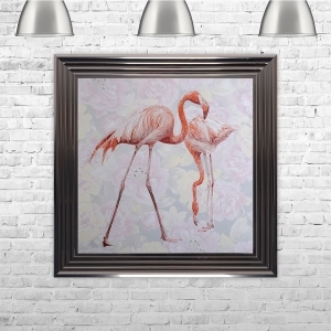 Two Flamingos with Floral Background Glitter Liquid Art With Swarovski Crystals | 75cm x 75cm
