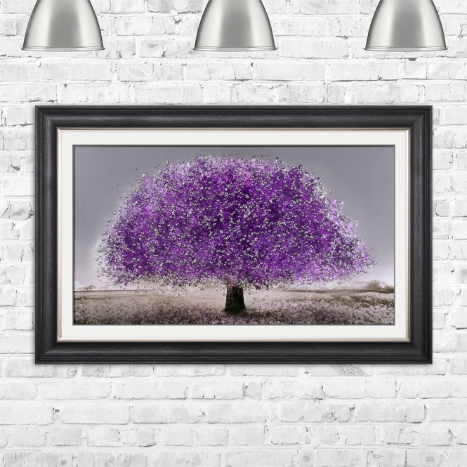 SHH Interiors Ultra Violet Blossom Tree Glitter Liquid Art With Swarovski Crystals | 114cm x 74cm