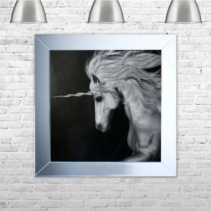 Unicorn Framed Liquid Artwork and Swarovski Crystals