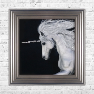 Unicorn Print Framed Liquid Artwork and Swarovski Crystals