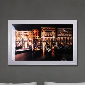 Venice Print Hand Made with Liquid Glass and Swarovski Crystals 114 x 74 cm