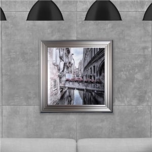 Venice printed glass Hand Made with Liquid Glass and Swarovski Crystals 75 x 75 cm