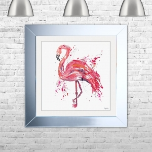 Watercolour Flamingo Framed Liquid Artwork and Swarovski Crystals
