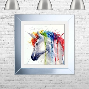 Watercolour Unicorn Framed Liquid Artwork and Swarovski Crystals