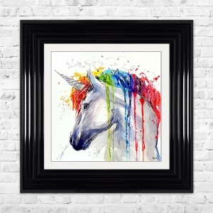 Watercolour Unicorn Print Framed Liquid Artwork and Swarovski Crystals