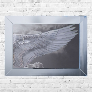Wing Right Cloudy Framed Liquid Artwork and Swarovski Crystals