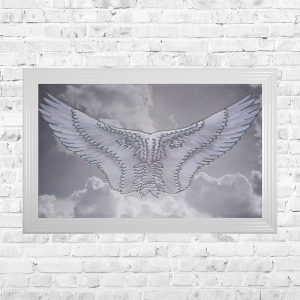 Wings Framed Liquid Artwork and Swarovski Crystals Summer Sale