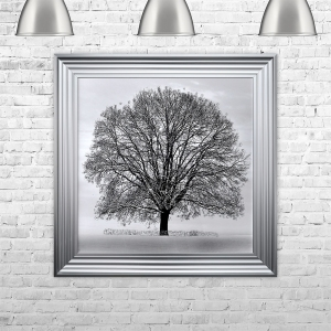 WINTER TREE Framed Liquid Art | 75cm x 75cm