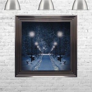Winter Walkway Glitter Liquid Art with Swarovski crystals | 75cm x 75cm
