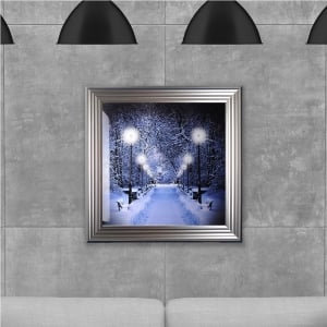 Winter Walkway Hand Made with Liquid Glass and Swarovski Crystals 75 x 75 cm
