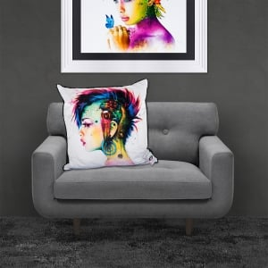 Patrice Murciano Licensed 55cm Luxury Feather Filled Cushion - CYBER PUNK 'PUNK WOMAN'