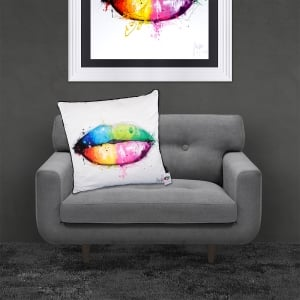 Patrice Murciano Licensed 55cm Luxury Feather Filled Cushion - MAD DIAMOND 'COLOURFUL CANDY LIPS'