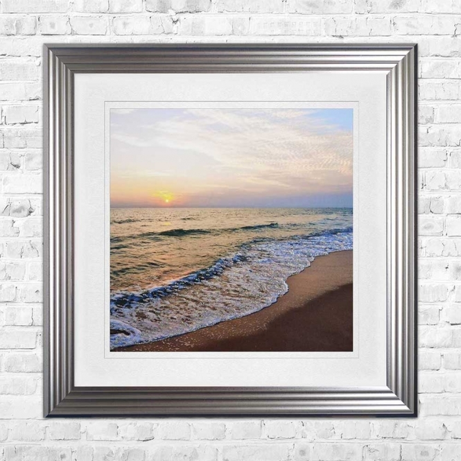 SHORELINE BEACH WHITE MOUNT FRAMED WALL ART