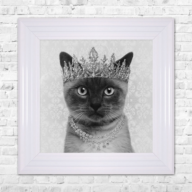 SHH Interiors SIAMESE Cat Framed Liquid Artwork and Swarovski Crystals