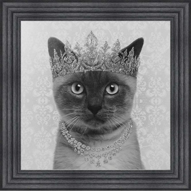 SIAMESE CAT WITH CROWN FRAMED WALL ART
