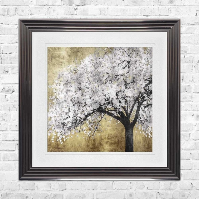 SILVER BLOSSOMS WHITE MOUNT FRAMED WALL ART