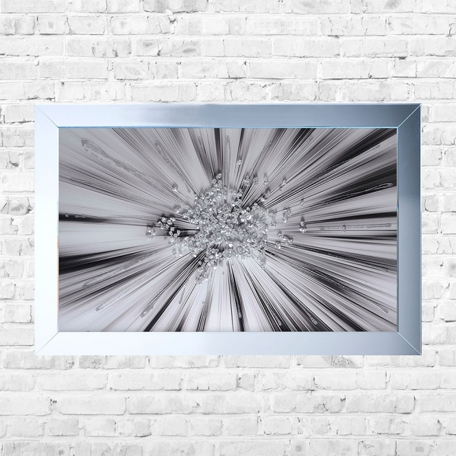 SHH Interiors Silver Cluster Blast Framed Liquid Artwork and Swarovski Crystals