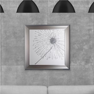 Silver Dandelion White Background (Right) Made with Liquid Glass and Swarovski Crystals 75 x 75 cm