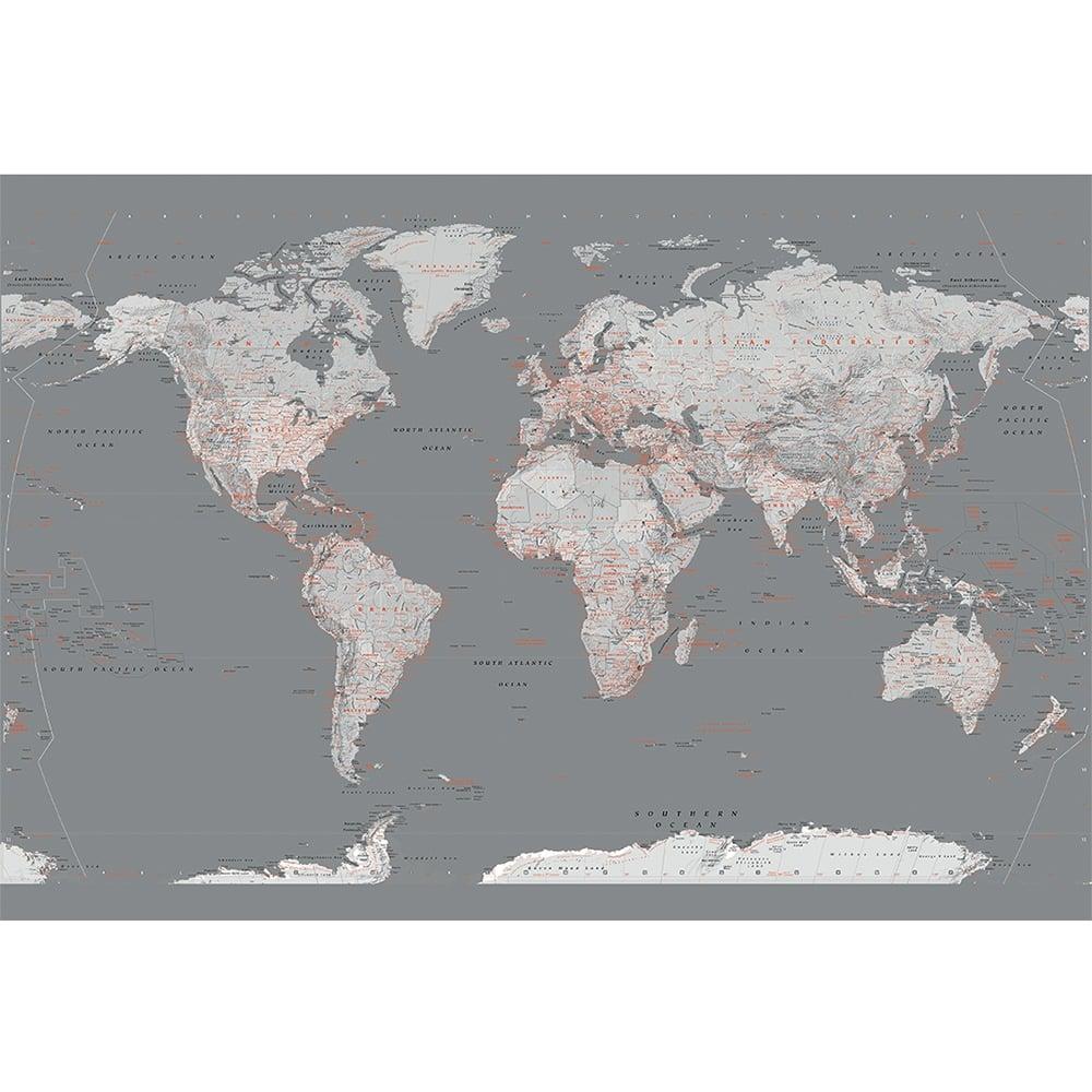 Silver Grey World Map Feature Wall Wallpaper Mural 158cm X 232cm