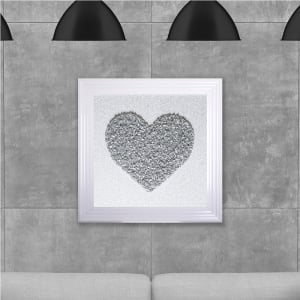 Silver Heart Cluster Hand Made with Liquid Glass and Swarovski Crystals 75 x 75 cm