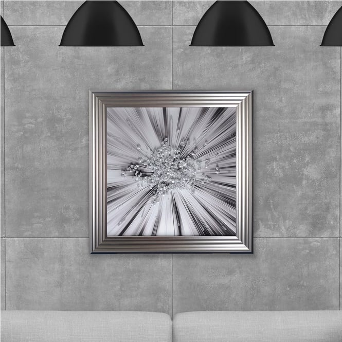 SHH Interiors Silver Star Blast Hand Made with Liquid Glass and Swarovski Crystals 75 x 75 cm