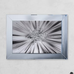 Silverblast Glass Print Mirror with Liquid Glass and Swarovski Crystals 54 x 74 cm