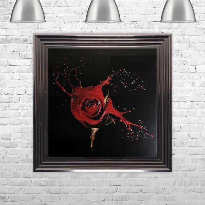 SINGLE RED LIQUID ROSE FRAMED WALL ART