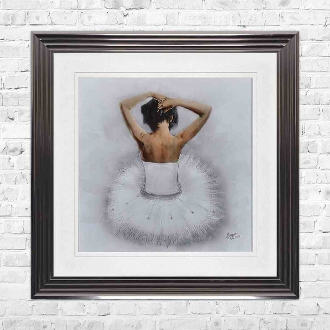 SITTING BALLERINA WHITE WHITE MOUNT FRAMED WALL ART