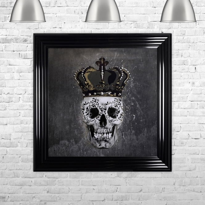 SHH Interiors SKull & Crown Grey Background Framed Liquid Artwork and Swarovski Crystals