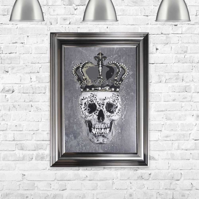 SKULL WITH CROWN GREY FRAMED WALL ART