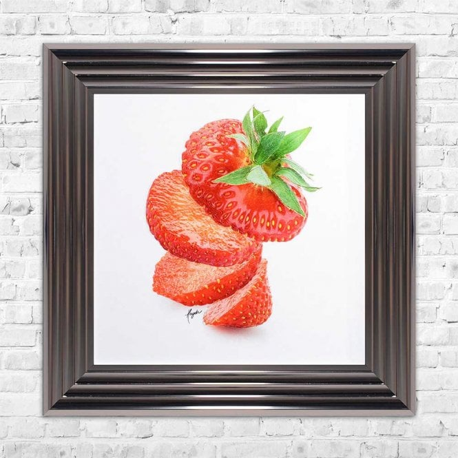 SLICED STRAWBERRY FRAMED WALL ART