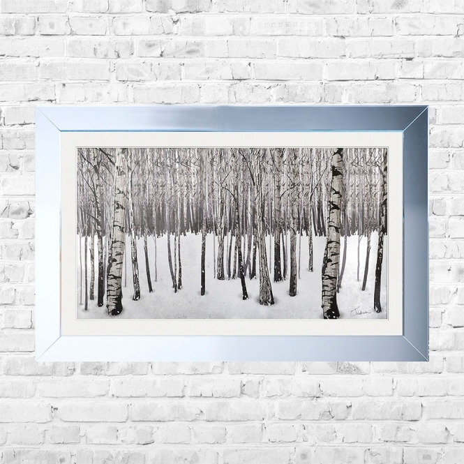 SHH Interiors Snowy Forest Framed Liquid Artwork and Swarovski Crystals
