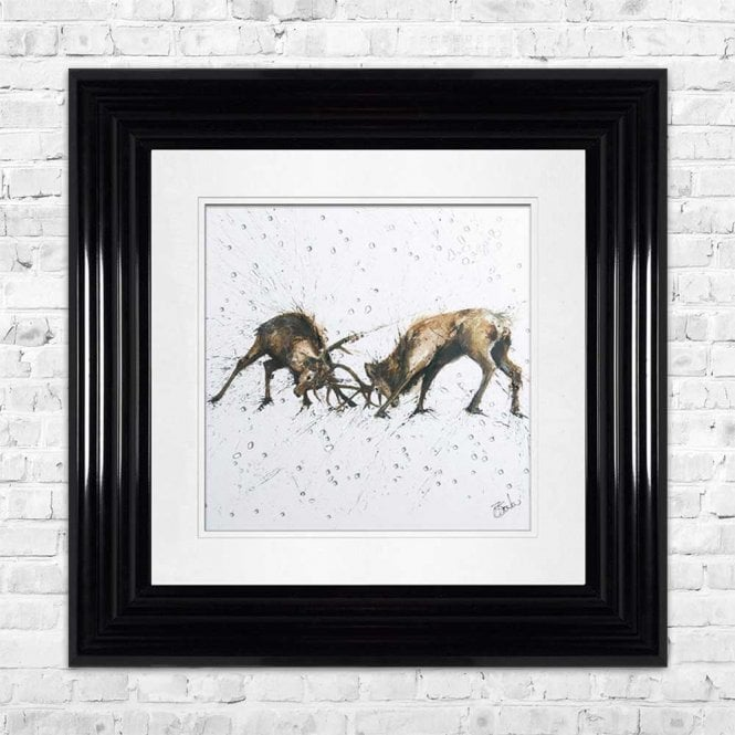 STAGS - HAND PAINTED WITH PHEASANT FEATHERS FRAMED WALL ART