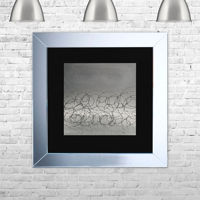 SHH Interiors STORM-BLK-GSIL Framed Liquid Artwork and Swarovski Crystals | 75cm x 75cm
