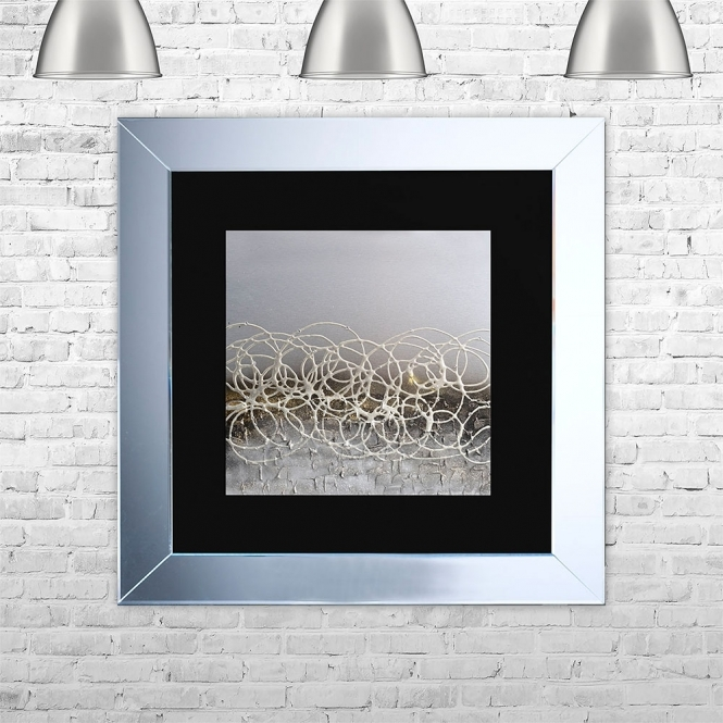 SHH Interiors STORM-BLK-MGLD Framed Liquid Artwork and Swarovski Crystals | 75cm x 75cm
